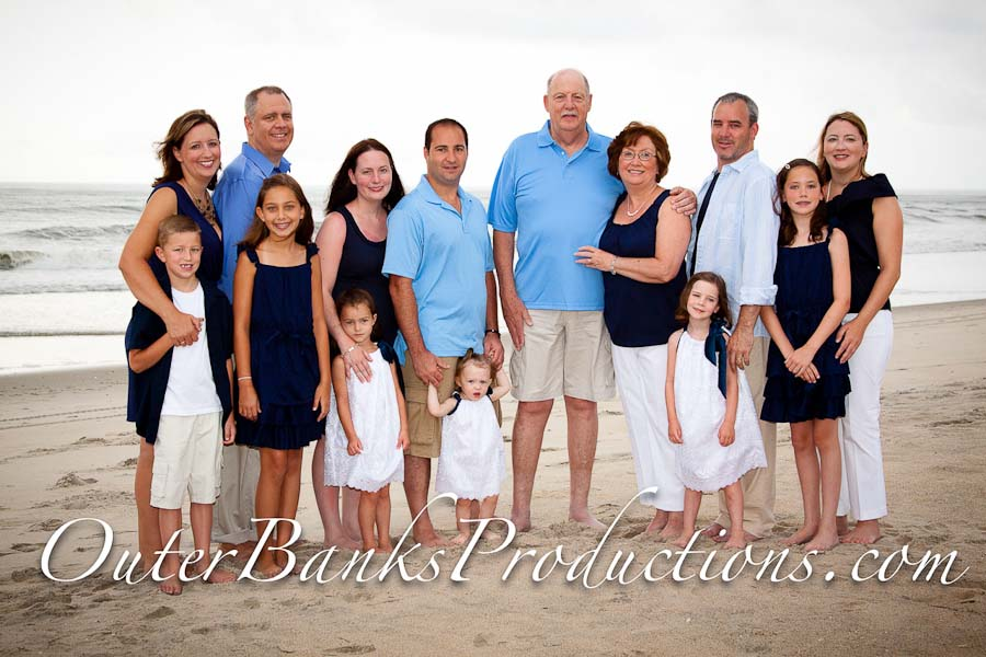 Family portrait photo with white, blue, navy and accents.